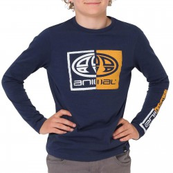 ANIMAL BOARD LONG SLEEVE BOYS T SHIRT INDIGO BLUE