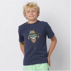 ANIMAL GRAPHIC HANG LOOSE BOYS T SHIRT INDIGO BLUE