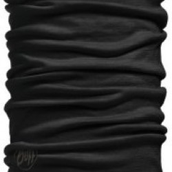 BUFF LIGHTWEIGHT MERINO WOOL NECKWARMER SOLID BLACK