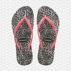 Havaianas Slim Leopard Black/Pink Flip Flops