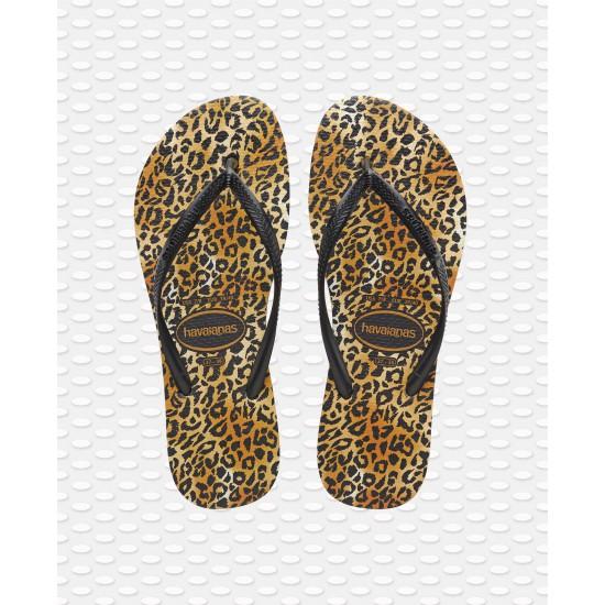 Havaianas Slim Leopard Black/Black Flip Flops