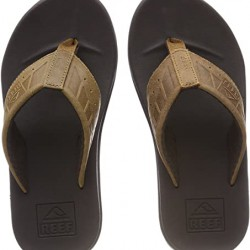 MENS REEF PHANTOM LEATHER BROWN/TAN FLIP FLOPS