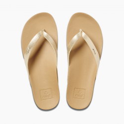 REEF CUSHION BOUNCE COURT WOMENS FLIP FLOPS TAN/CHAMPAGNE