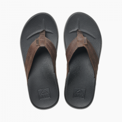 REEF CUSHION PHANTOM LEATHER FLIP FLOPS BLACK/BROWN
