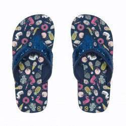 ANIMAL GIRLS SWISH GLITZ FLIP FLOPS INDIGO BLUE