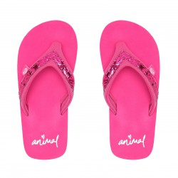 ANIMAL GIRLS SWISH SLIM RASPBERRY ROSE PINK GLITTER FLIP FLOPS