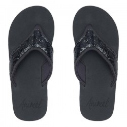 ANIMAL SWISH GLITTER UPPER WOMENS FLIP FLOPS RAVEN