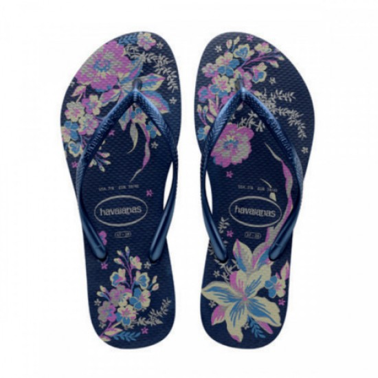 Havaianas Slim Organic Navy Blue Metallic Womens Flip Flops