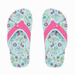 ANIMAL SWISH AOP GIRLS FLIP FLOPS MISTY GREEN/PINK