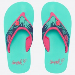ANIMAL GIRLS SWISH UPPER AOP FLIP FLOPS TURQUOISE GREEN