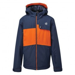 Kids' Enigmatic Waterproof Insulated Hooded Ski Jacket Dark Denim Blaze Orange