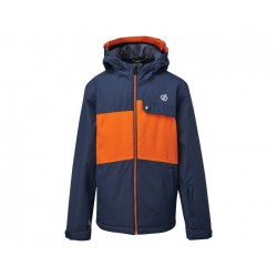 Kids' Enigmatic Waterproof Insulated Hooded Ski Jacket Dark Denim Blaze Orange