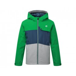 Dare 2b Kids' Enigmatic Waterproof Insulated Hooded Ski Jacket Vivid Green Space Grey